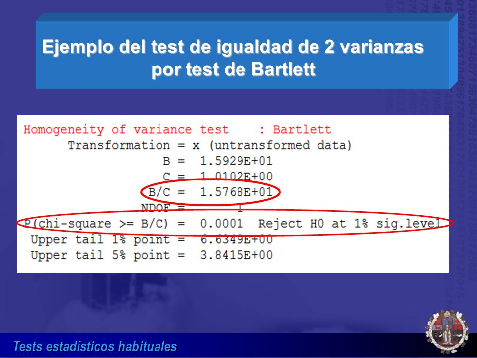 Ejemplo del test de igualdad de 2 varianzas por test de Bartlett