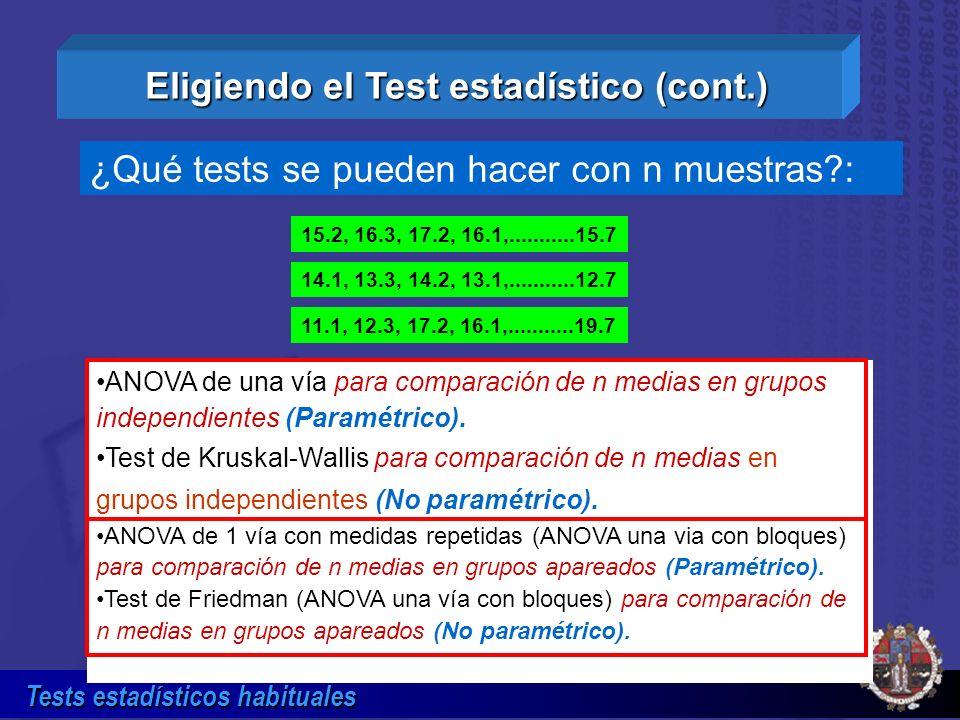 Eligiendo el Test estadístico (cont.)
