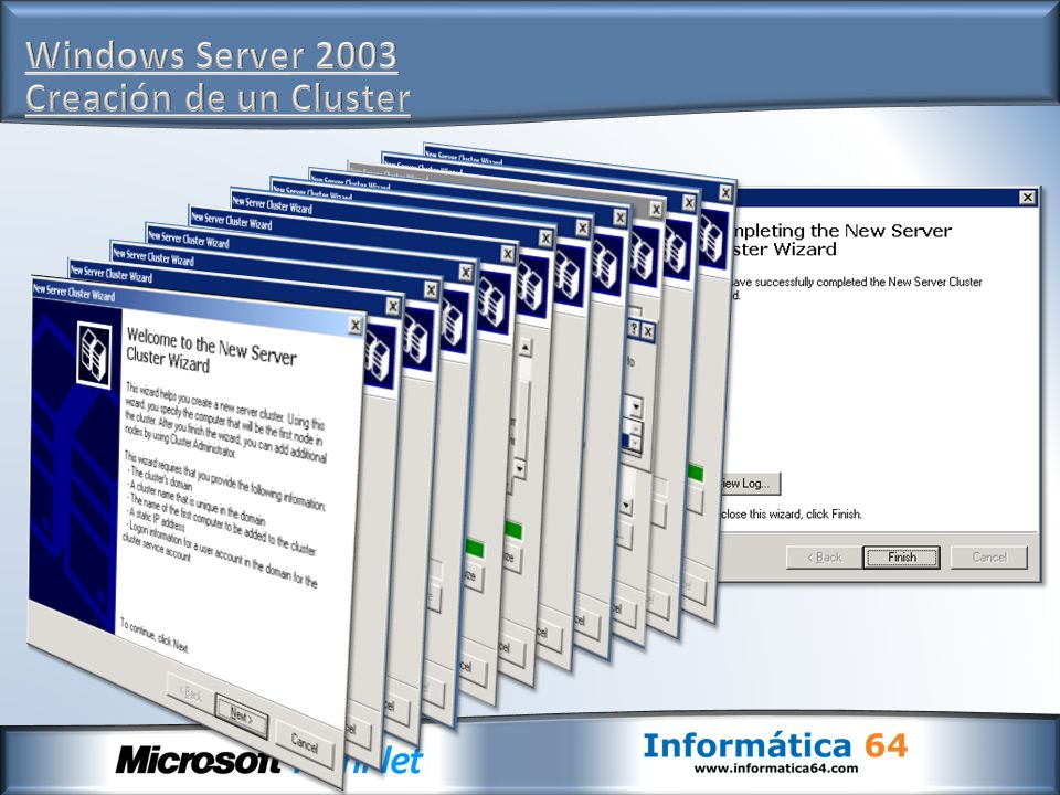 Windows Server 2003 Creación de un Cluster