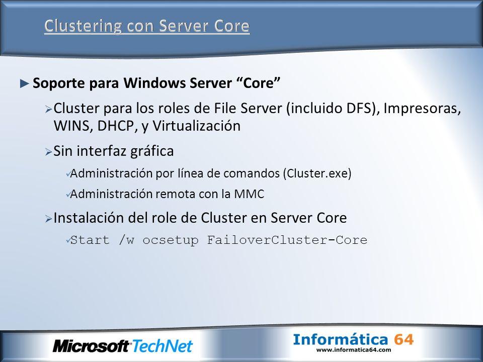 Clustering con Server Core