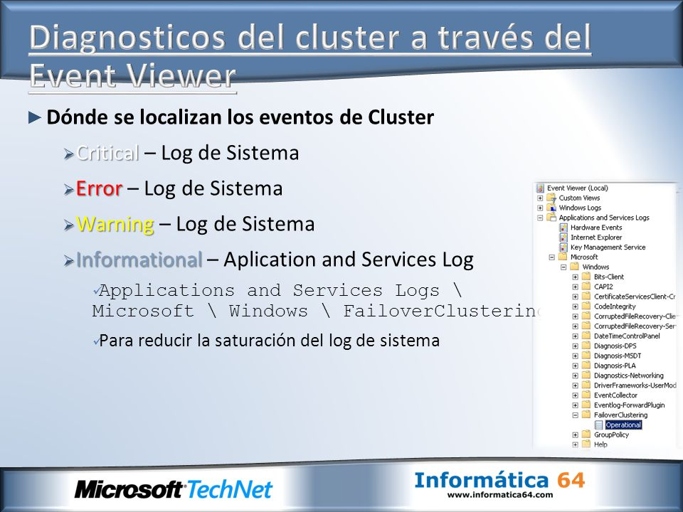 Diagnosticos del cluster a través del Event Viewer