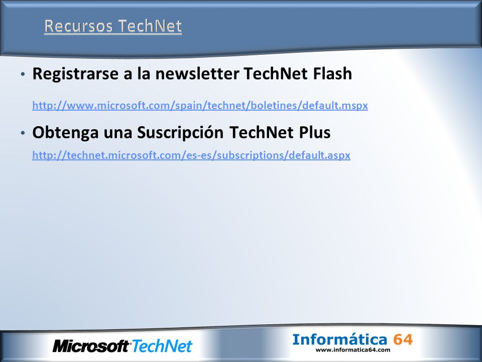 Registrarse a la newsletter TechNet Flash