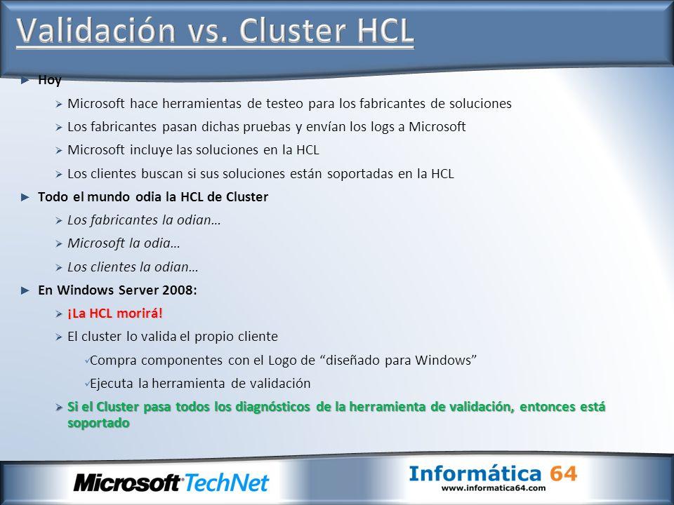 Validación vs. Cluster HCL
