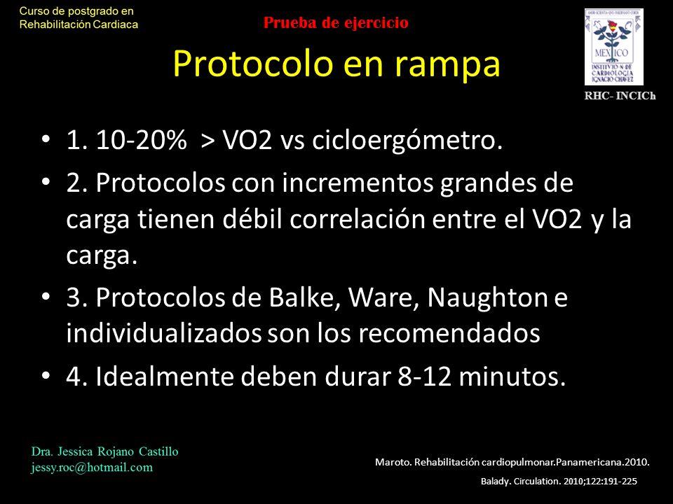 Protocolo en rampa 1. 10-20% > VO2 vs cicloergómetro.