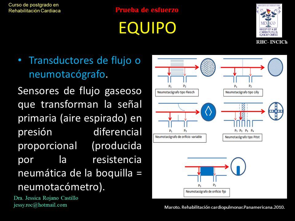 EQUIPO Transductores de flujo o neumotacógrafo.