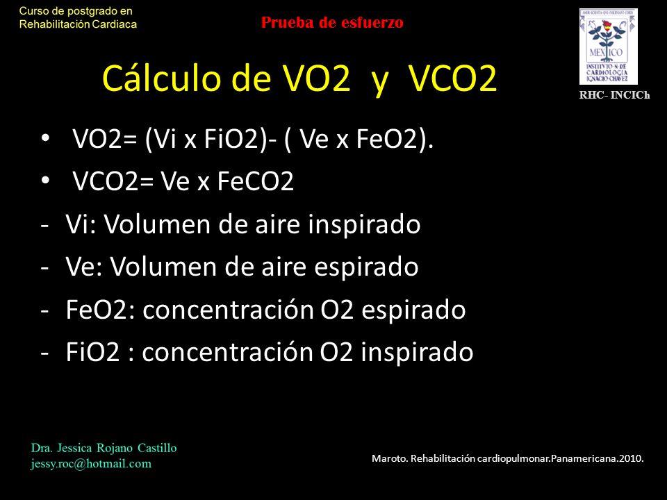Cálculo de VO2 y VCO2 VO2= (Vi x FiO2)- ( Ve x FeO2). VCO2= Ve x FeCO2