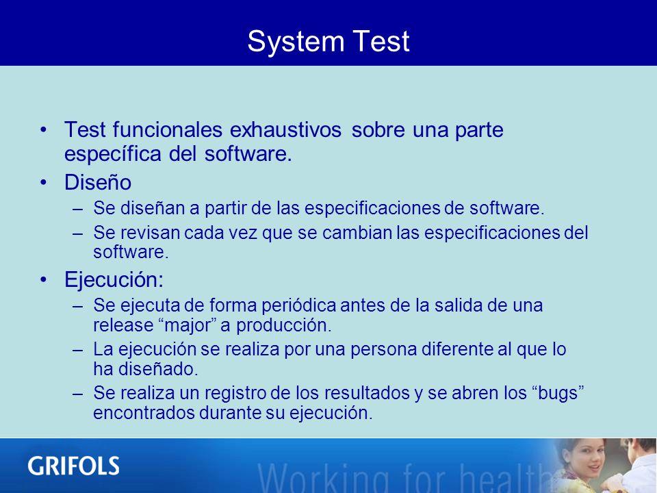 System Test Test funcionales exhaustivos sobre una parte específica del software. Diseño. Se diseñan a partir de las especificaciones de software.