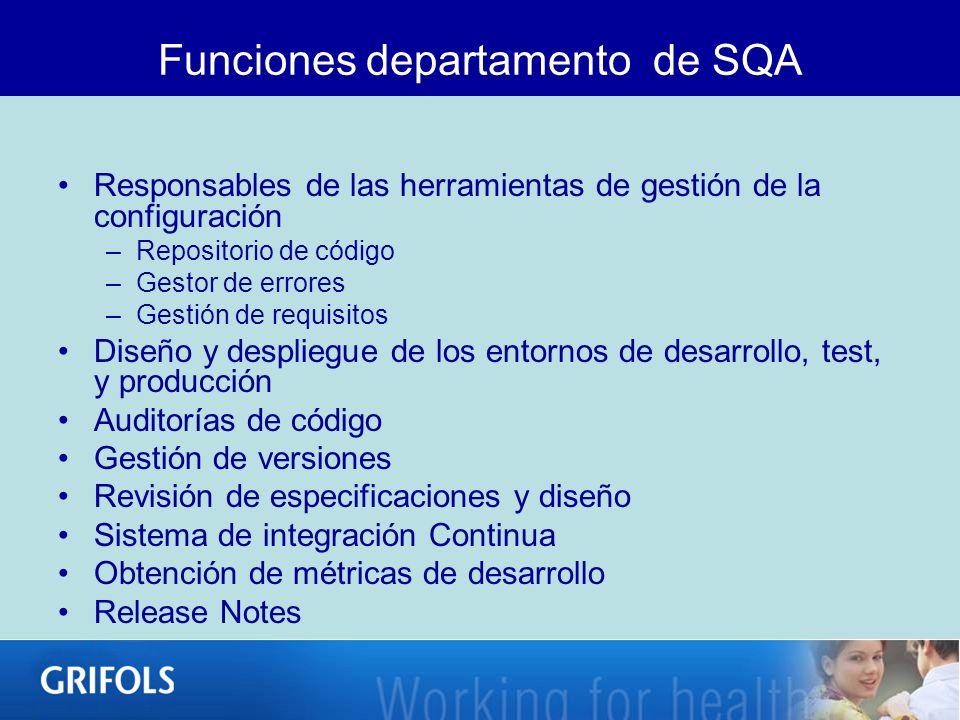 Funciones departamento de SQA