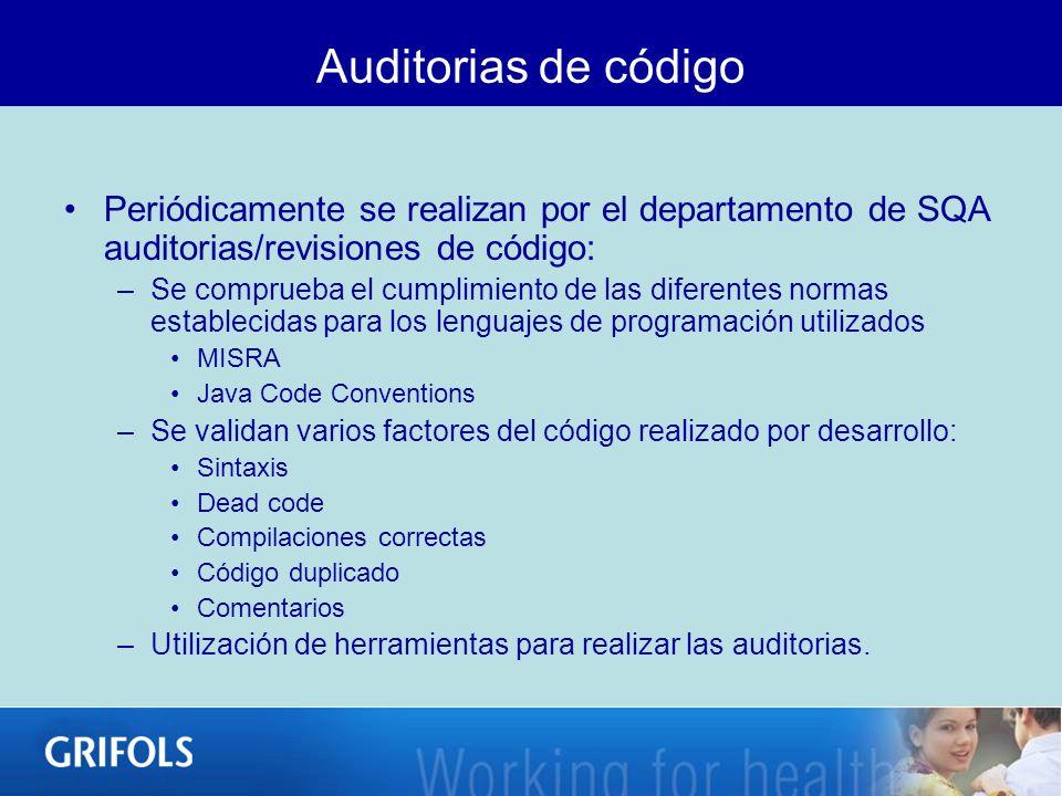 Auditorias de código Periódicamente se realizan por el departamento de SQA auditorias/revisiones de código: