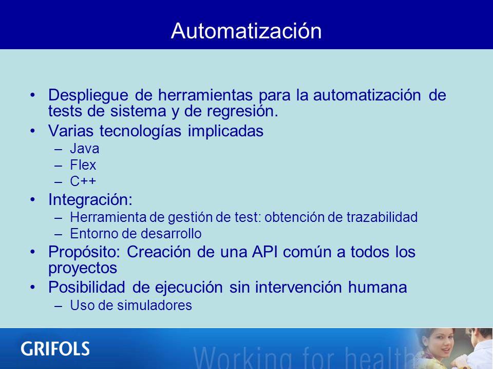 Automatización Despliegue de herramientas para la automatización de tests de sistema y de regresión.
