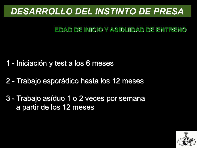DESARROLLO DEL INSTINTO DE PRESA EDAD DE INICIO Y ASIDUIDAD DE ENTRENO