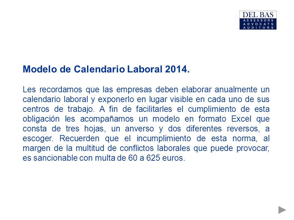 Modelo de Calendario Laboral 2014.