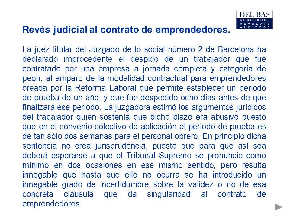 Revés judicial al contrato de emprendedores.