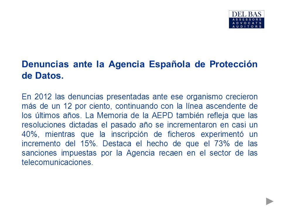 Denuncias ante la Agencia Española de Protección de Datos.