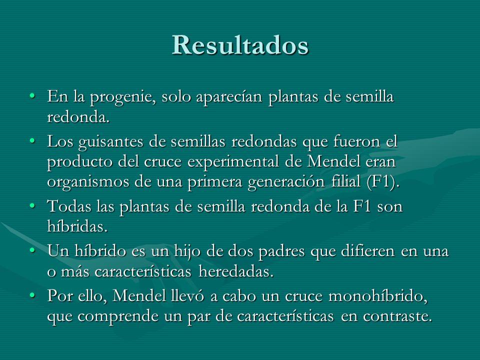 Resultados En la progenie, solo aparecían plantas de semilla redonda.
