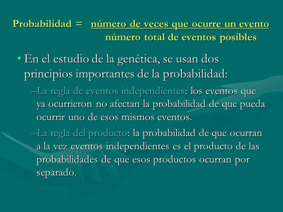 Probabilidad = número de veces que ocurre un evento