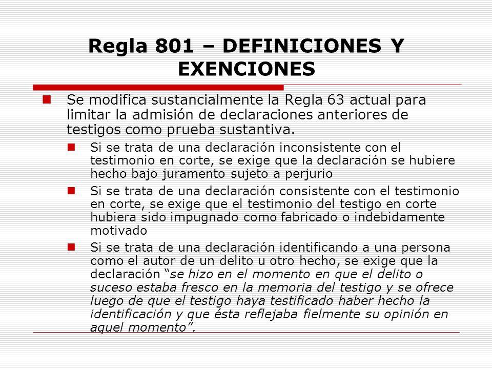Regla 801 – DEFINICIONES Y EXENCIONES