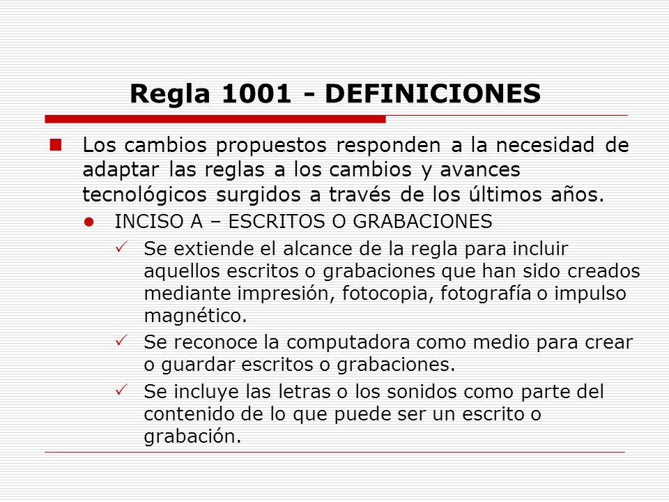 Regla 1001 - DEFINICIONES