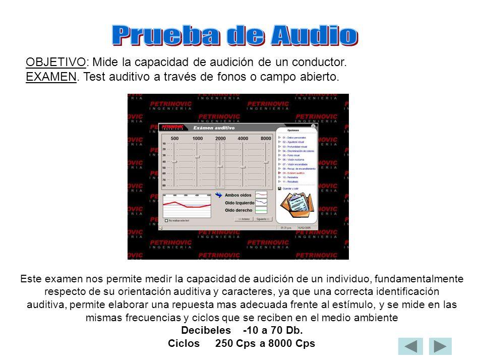 Prueba de Audio OBJETIVO: Mide la capacidad de audición de un conductor. EXAMEN. Test auditivo a través de fonos o campo abierto.