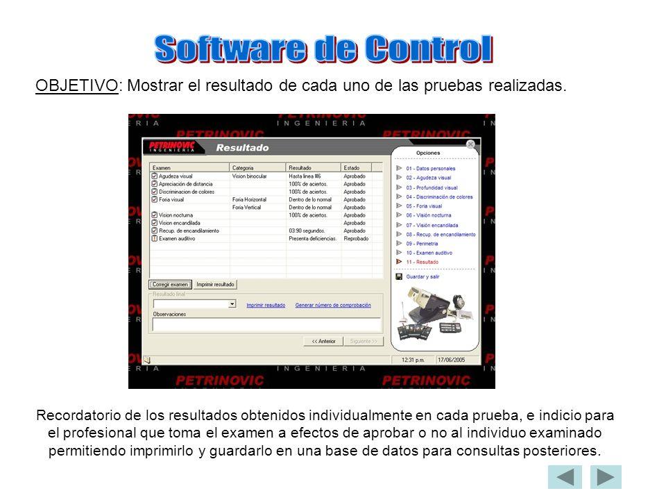 Software de Control OBJETIVO: Mostrar el resultado de cada uno de las pruebas realizadas.