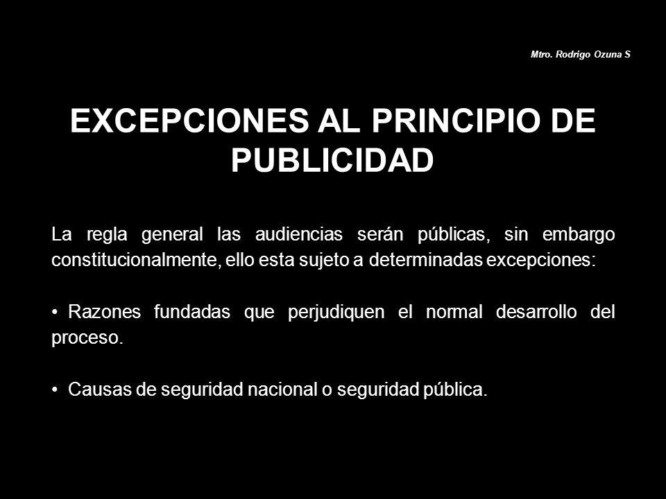 EXCEPCIONES AL PRINCIPIO DE PUBLICIDAD