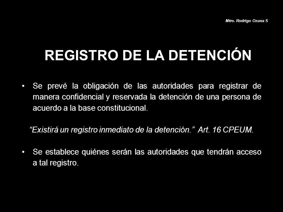 REGISTRO DE LA DETENCIÓN