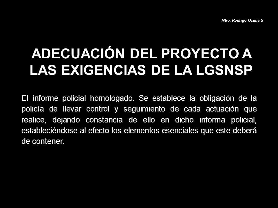 ADECUACIÓN DEL PROYECTO A LAS EXIGENCIAS DE LA LGSNSP