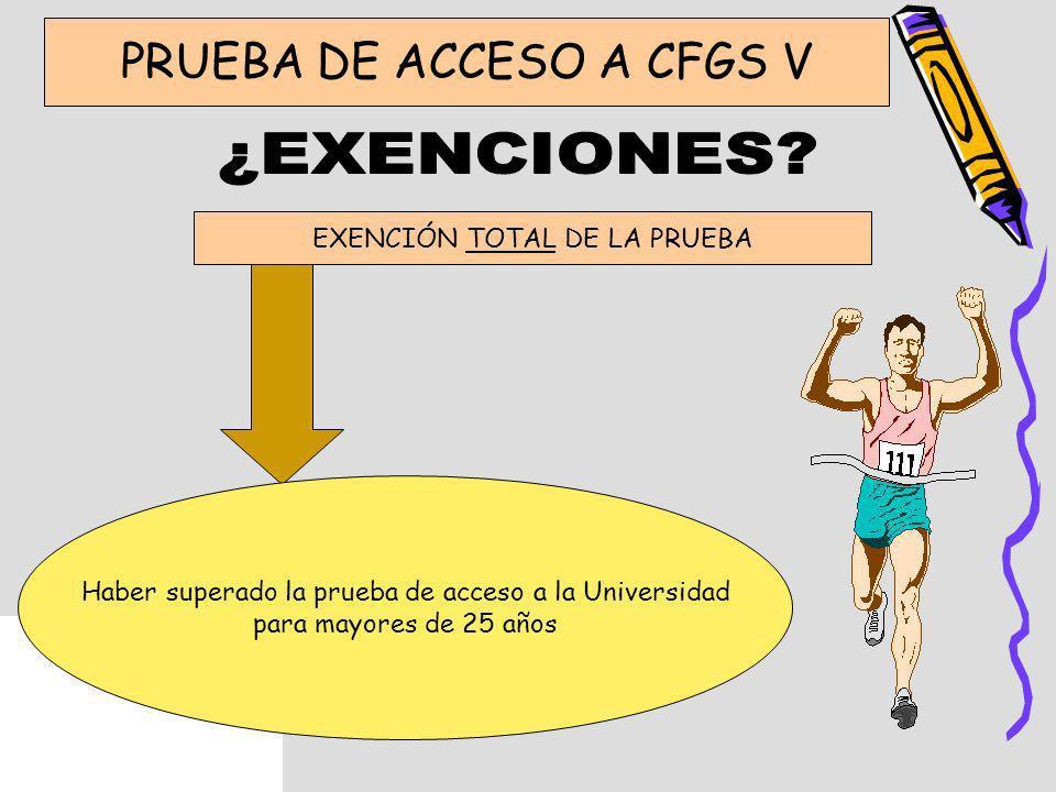 ¿EXENCIONES PRUEBA DE ACCESO A CFGS V EXENCIÓN TOTAL DE LA PRUEBA