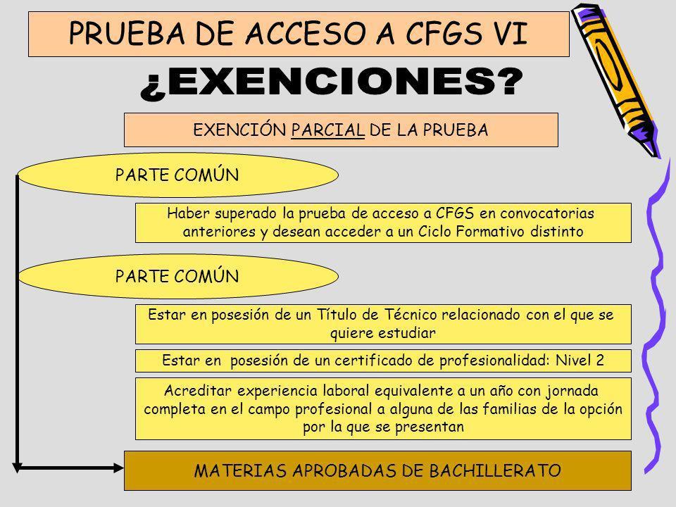¿EXENCIONES PRUEBA DE ACCESO A CFGS VI EXENCIÓN PARCIAL DE LA PRUEBA