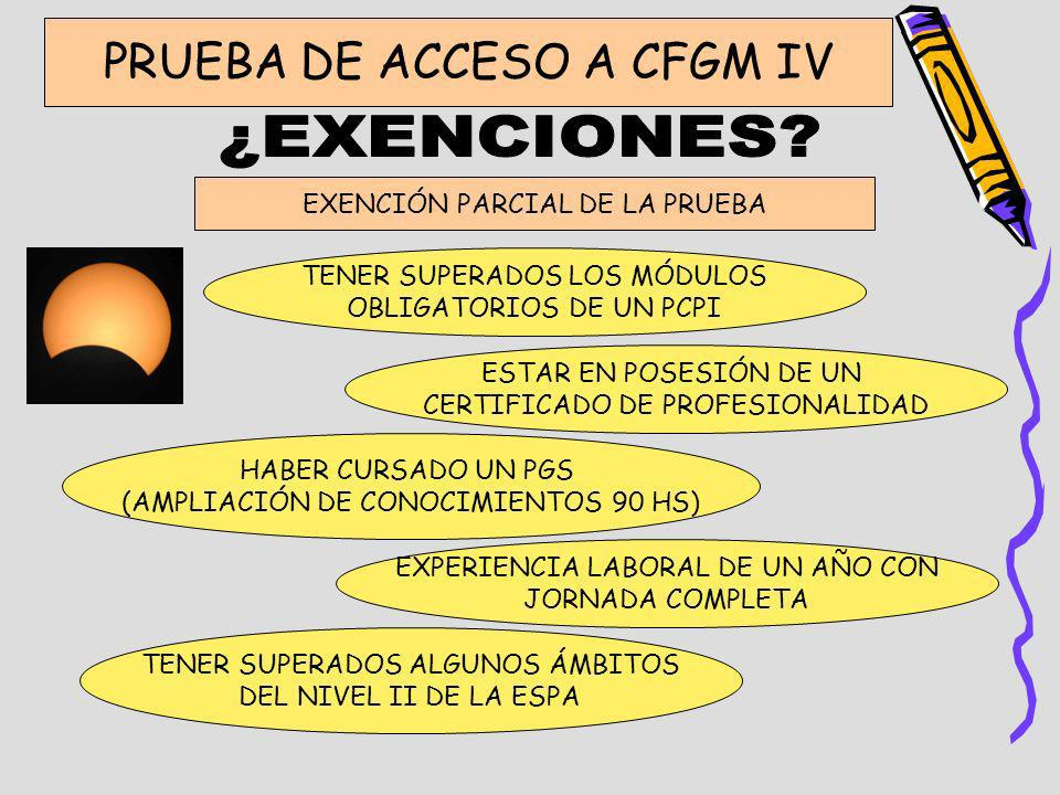 ¿EXENCIONES PRUEBA DE ACCESO A CFGM IV EXENCIÓN PARCIAL DE LA PRUEBA
