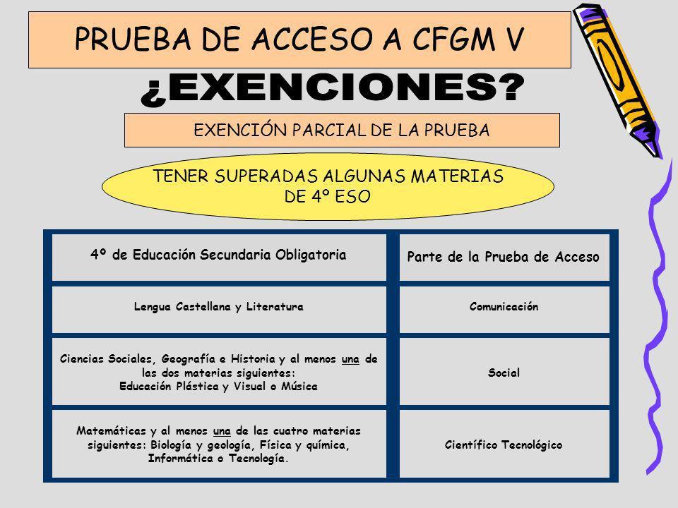 ¿EXENCIONES PRUEBA DE ACCESO A CFGM V EXENCIÓN PARCIAL DE LA PRUEBA