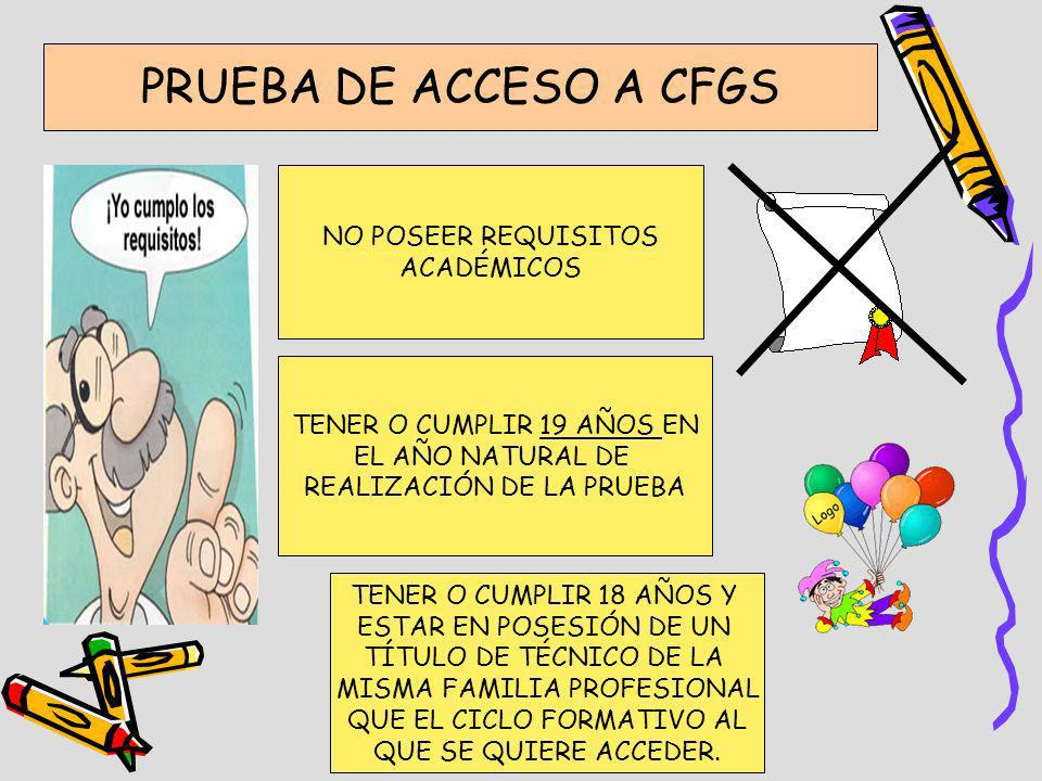 PRUEBA DE ACCESO A CFGS NO POSEER REQUISITOS ACADÉMICOS