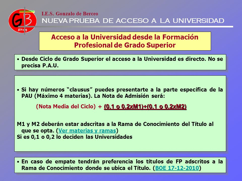 Acceso a la Universidad desde la Formación Profesional de Grado Superior