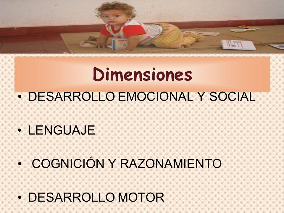 Dimensiones DESARROLLO EMOCIONAL Y SOCIAL LENGUAJE