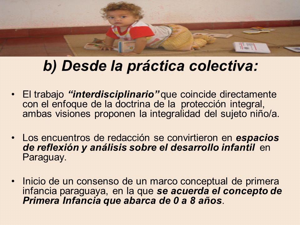 b) Desde la práctica colectiva: