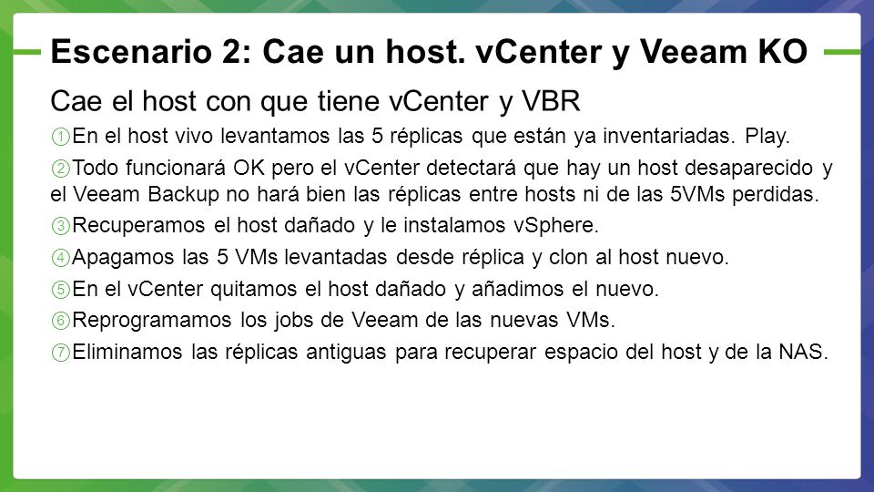 Escenario 2: Cae un host. vCenter y Veeam KO