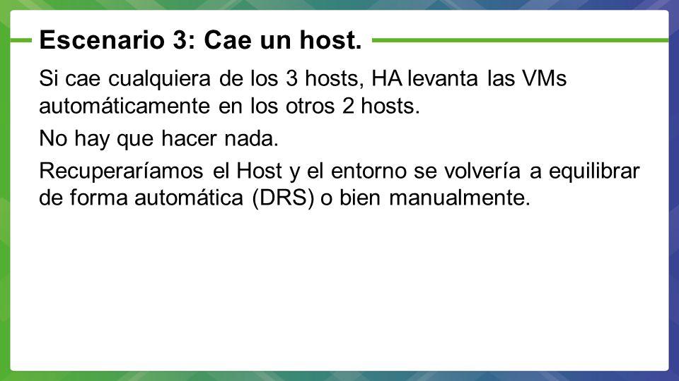 Escenario 3: Cae un host. Si cae cualquiera de los 3 hosts, HA levanta las VMs automáticamente en los otros 2 hosts.