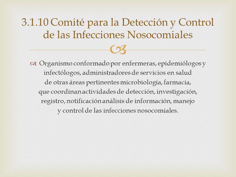 3.1.10 Comité para la Detección y Control de las Infecciones Nosocomiales