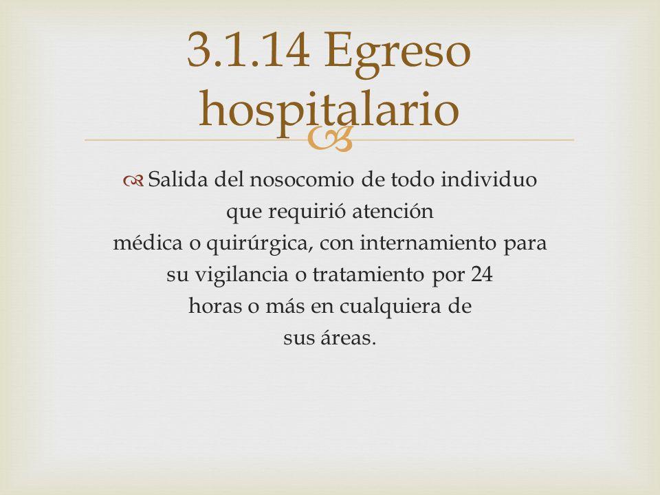 3.1.14 Egreso hospitalario Salida del nosocomio de todo individuo