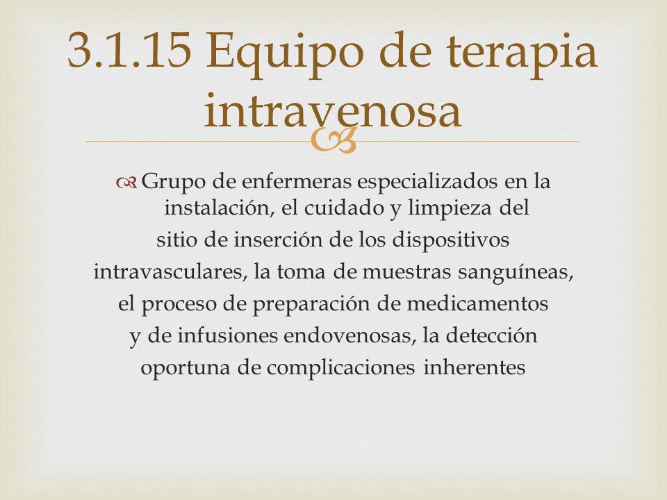 3.1.15 Equipo de terapia intravenosa