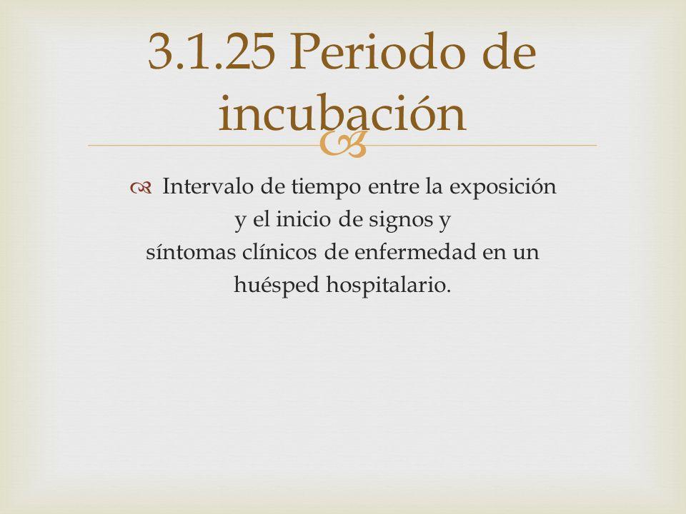 3.1.25 Periodo de incubación Intervalo de tiempo entre la exposición
