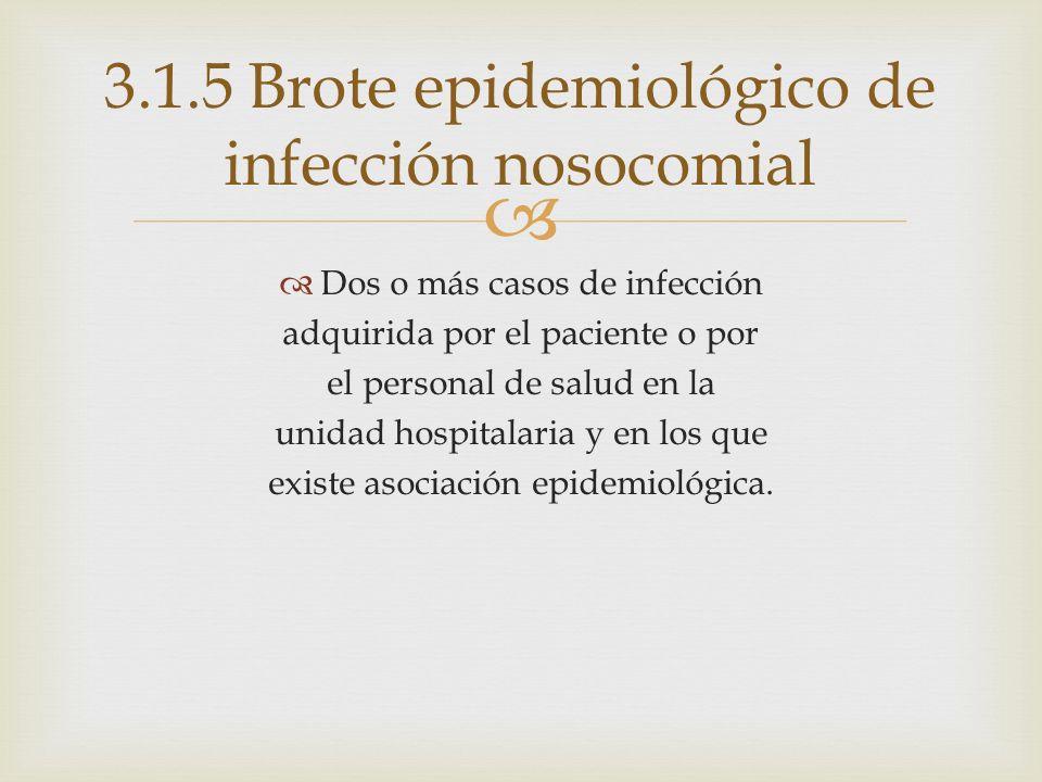 3.1.5 Brote epidemiológico de infección nosocomial
