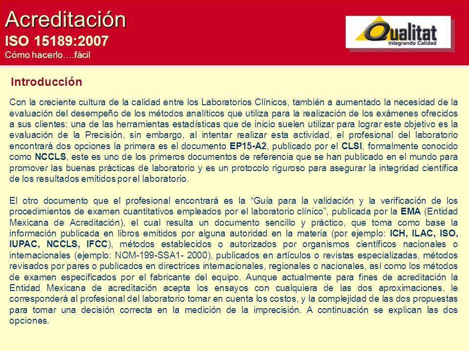 Acreditación ISO 15189:2007 Introducción Cómo hacerlo….fácil