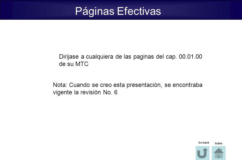 Páginas Efectivas Dirijase a cualquiera de las paginas del cap. 00.01.00. de su MTC. Nota: Cuando se creo esta presentación, se encontraba.