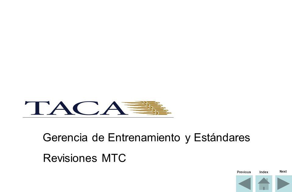 Gerencia de Entrenamiento y Estándares Revisiones MTC