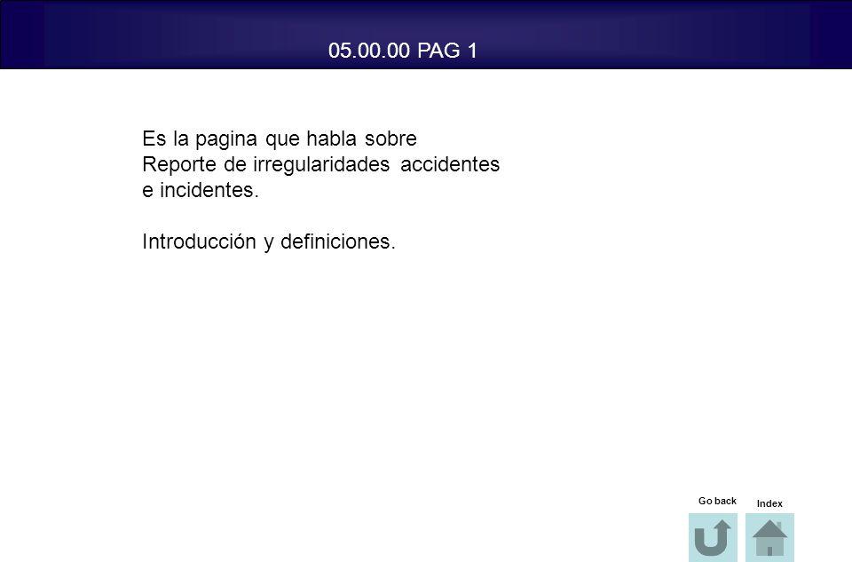 Es la pagina que habla sobre Reporte de irregularidades accidentes