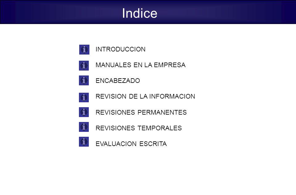 Indice INTRODUCCION MANUALES EN LA EMPRESA ENCABEZADO