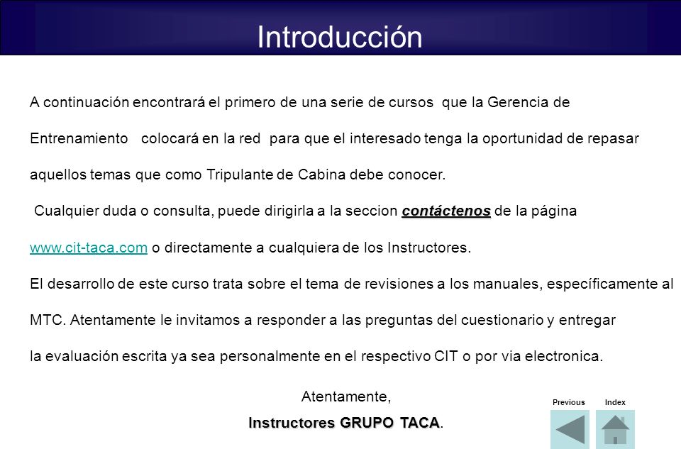 Instructores GRUPO TACA.