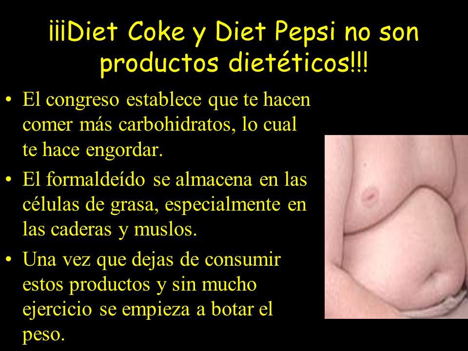 ¡¡¡Diet Coke y Diet Pepsi no son productos dietéticos!!!