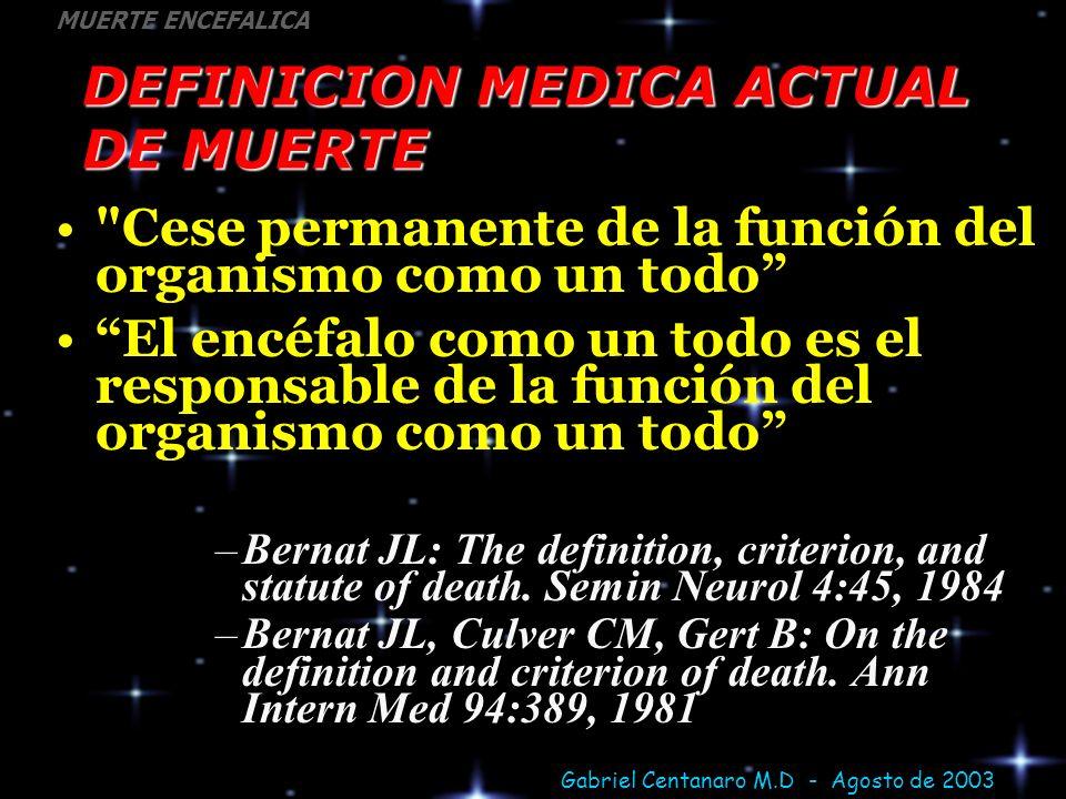 DEFINICION MEDICA ACTUAL DE MUERTE